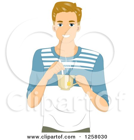 Clipart of a Young Blond White Man Holding a Cup of Hot Tea - Royalty Free Vector Illustration by BNP Design Studio