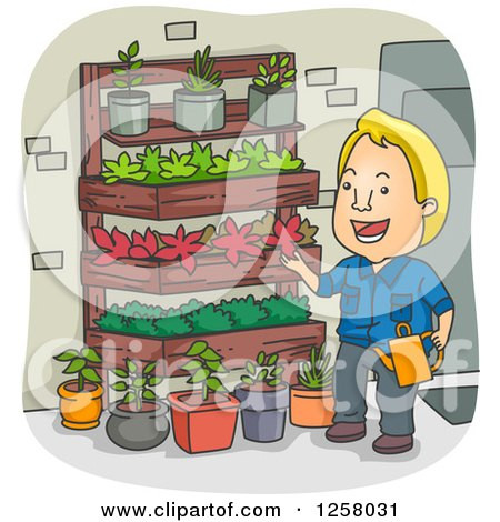 Clipart of a Happy Blond White Man Watering His Vertical Garden - Royalty Free Vector Illustration by BNP Design Studio
