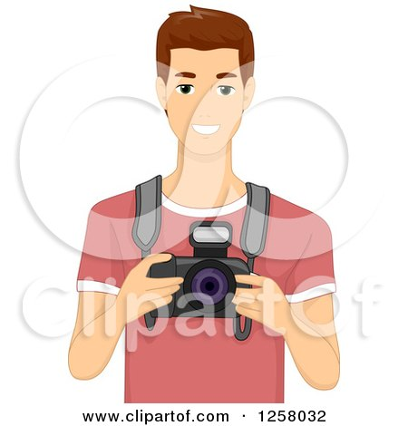 Clipart of a Young White Brunette Male Photographer Holding a DSLR Camera - Royalty Free Vector Illustration by BNP Design Studio