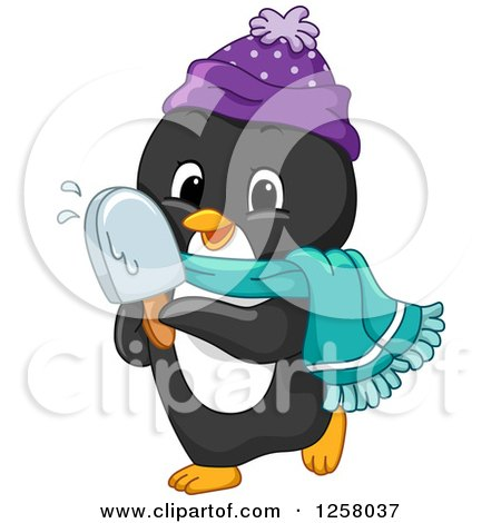 Clipart of a Cute Winter Penguin Eating a Popsicle - Royalty Free Vector Illustration by BNP Design Studio