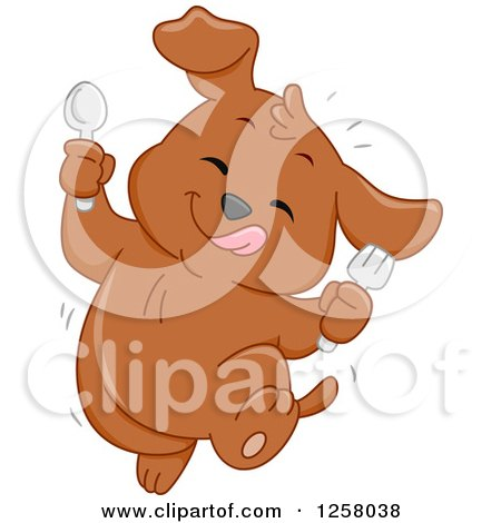 Clipart of a Cute Happy Puppy Dog Dancing After Eating Something Tasty - Royalty Free Vector Illustration by BNP Design Studio