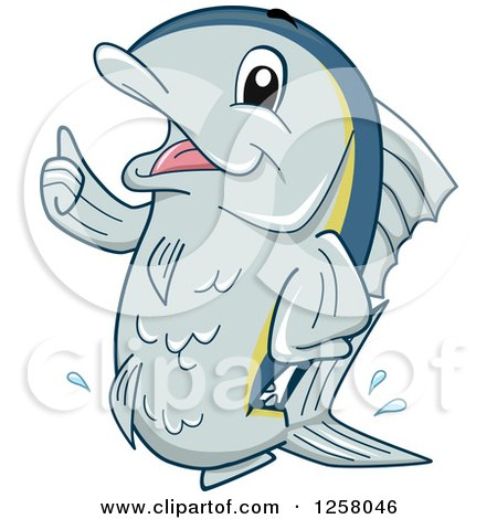 Clipart of a Happy Tuna Fish Holding a Thumb up - Royalty Free Vector Illustration by BNP Design Studio