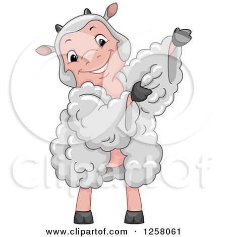 Clipart of a Cute Happy Sheep Wearing a Wool Dress - Royalty Free Vector Illustration by BNP Design Studio