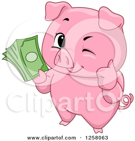 Cute Winking Pig Holding a Thumb up and Cash Posters, Art Prints
