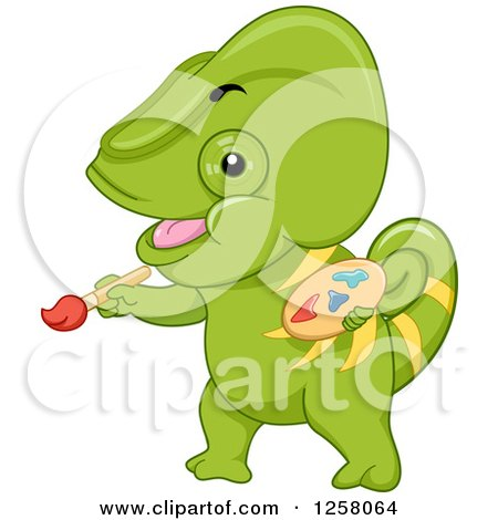 Clipart of a Cute Green Chameleon Lizard Painting - Royalty Free Vector Illustration by BNP Design Studio