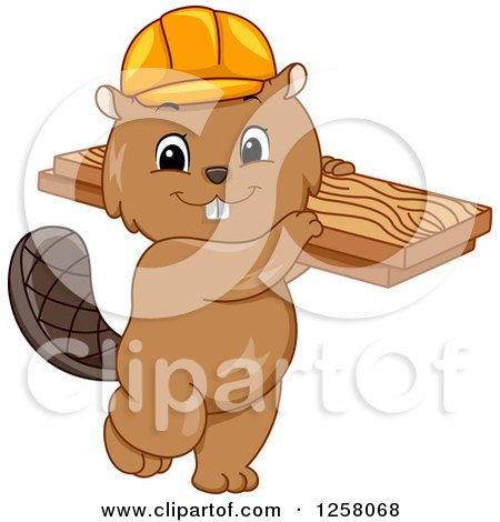 Clipart of a Cute Beaver in a Hard Hat, Carrying Lumber - Royalty Free Vector Illustration by BNP Design Studio