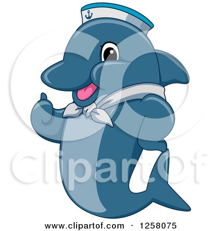 Clipart of a Cute Happy Dolphin Sailor Holding a Thumb up - Royalty Free Vector Illustration by BNP Design Studio