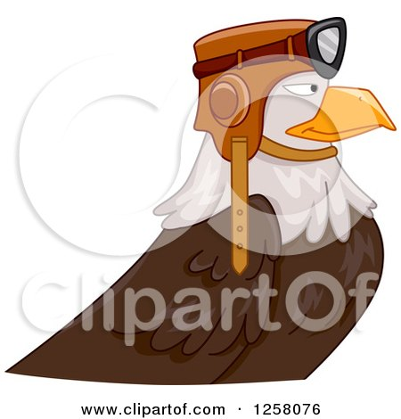 Clipart of a Bald Eagle Pilot in Profile - Royalty Free Vector Illustration by BNP Design Studio