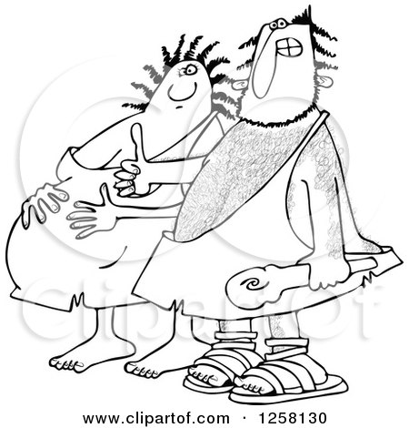 Clipart of a Black and White Happy Expecting Pregnant Caveman Couple - Royalty Free Vector Illustration by djart