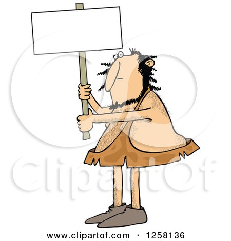 Clipart of a Hairy Caveman Holding up a Blank Sign - Royalty Free Vector Illustration by djart