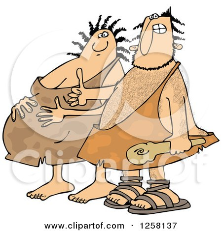 Clipart of a Happy Expecting Pregnant Caveman Couple - Royalty Free Vector Illustration by djart