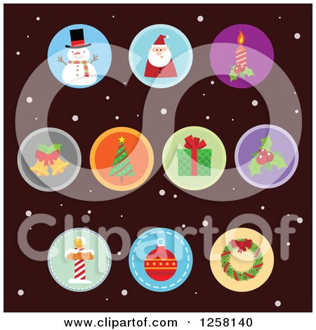 Clipart of Round Christmas Item Icons over Dark Brown and Snow - Royalty Free Vector Illustration by Qiun