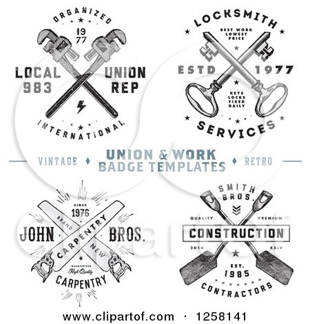 Clipart Of Vintage Crossed Tools And Keys With Sample Text