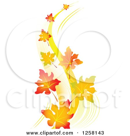 Clipart of Autumn Leaves Floating in a Breeze - Royalty Free Vector Illustration by Pushkin
