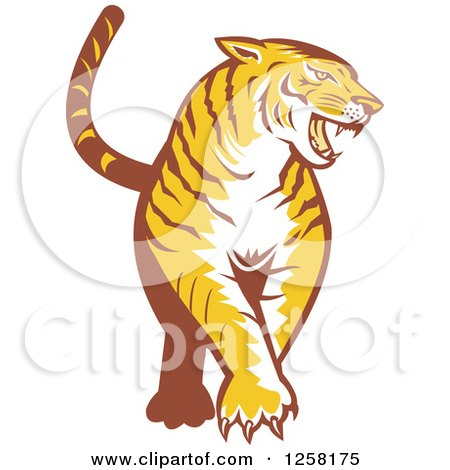 Clipart of a Retro Tiger Prowling - Royalty Free Vector Illustration by patrimonio