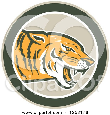 Clipart of a Retro Growling Tiger Head in a Green Circle - Royalty Free Vector Illustration by patrimonio
