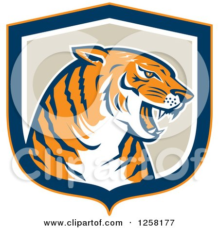 Clipart of a Retro Growling Tiger Head in a Blue Orange White and Tan Shield - Royalty Free Vector Illustration by patrimonio