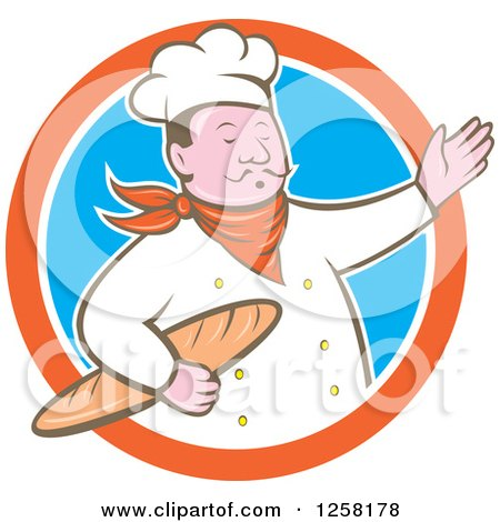 Clipart of a Retro Male Chef Holding Bread and Presenting in an Orange White and Blue Circle - Royalty Free Vector Illustration by patrimonio