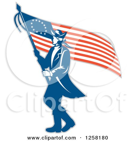 Clipart Of A Retro Revolutionary Soldier Walking With An American Betsy Ross Flag Royalty Free Vector Illustration