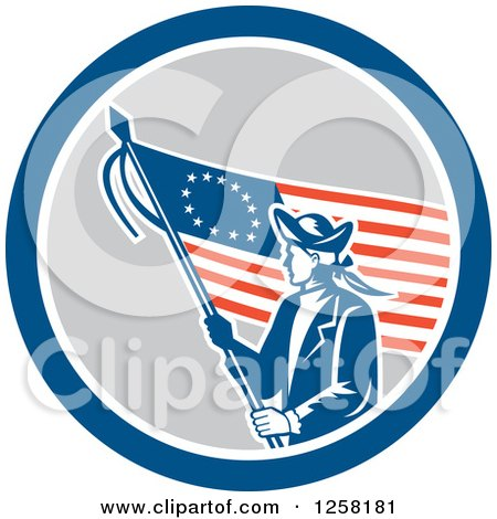 Clipart Of A Retro Revolutionary Soldier With An American Betsy Ross Flag In A Blue White And Gray Circle Royalty Free Vector Illustration