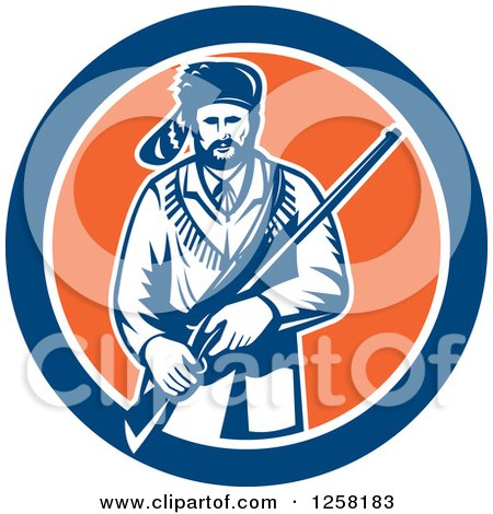 Clipart of a Retro American Frontiersman, Davy Crockett, Holding a Rifle in a Blue White and Orange Circle - Royalty Free Vector Illustration by patrimonio