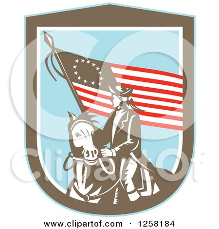 Clipart Of A Retro Woodcut Revolutionary Soldier Riding A Horse With An American Betsy Ross Flag In A Brown White And Blue Shield Royalty Free Vector Illustration