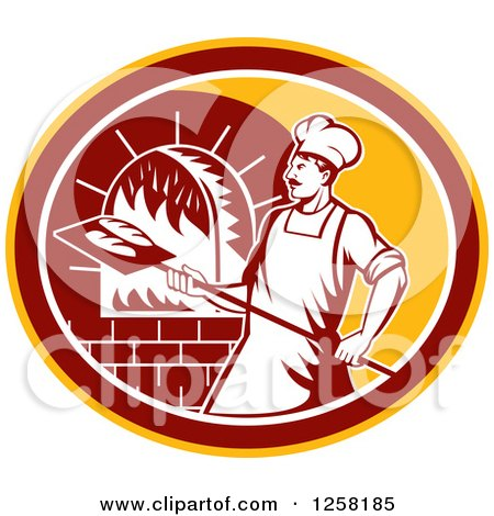 Clipart of a Retro Male Baker Cooking Bread in a Wood Fired Brick Oven in a Yellow Maroon and White Oval - Royalty Free Vector Illustration by patrimonio