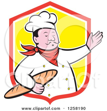 Clipart of a Cartoon Male Chef Holding Bread and Presenting in a Red White and Yellow Shield - Royalty Free Vector Illustration by patrimonio