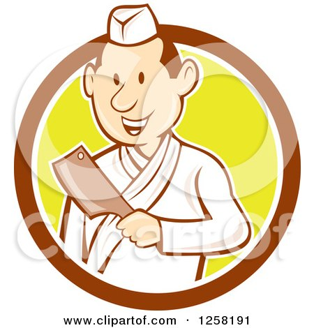 Clipart of a Retro Cartoon Styled Japanese Butcher Man Holding a Cleaver Knife in a Brown White and Yellow Circle - Royalty Free Vector Illustration by patrimonio