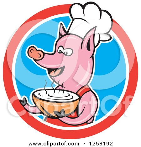 Clipart of a Cartoon Pig Chef Holding a Bowl of Soup in a Red White and Blue Circle - Royalty Free Vector Illustration by patrimonio