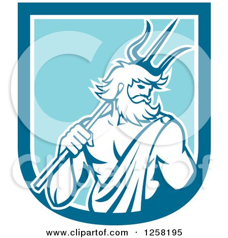 Clipart of a Roman Sea God, Neptune or Poseidon, with a Trident in a Blue and White Shield - Royalty Free Vector Illustration by patrimonio