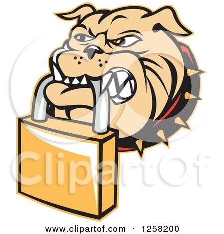 Clipart of a Retro Bulldog Biting a Padlock - Royalty Free Vector Illustration by patrimonio