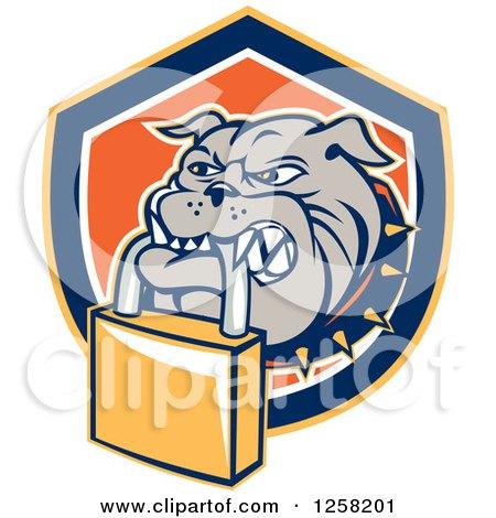Clipart of a Retro Bulldog Biting a Padlock in a Shield - Royalty Free Vector Illustration by patrimonio