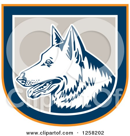 Clipart of a Retro German Shepherd Dog in an Orange Blue White and Tan Shield - Royalty Free Vector Illustration by patrimonio