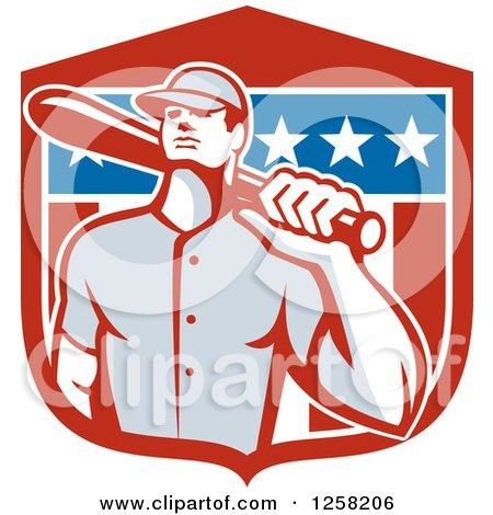 Clipart of a Retro Male Baseball Player with a Bat over an American Flag Shield - Royalty Free Vector Illustration by patrimonio