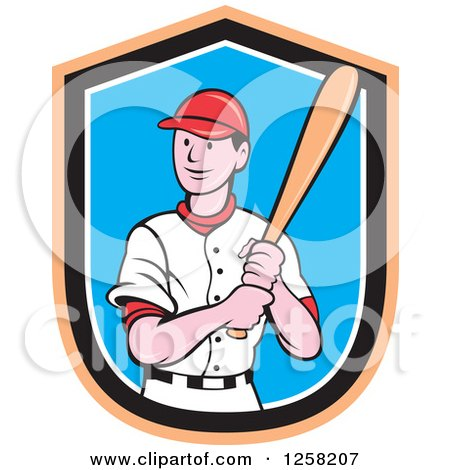 Clipart of a Happy White Cartoon Baseball Player Batting over an Orange Black White and Blue Shield - Royalty Free Vector Illustration by patrimonio