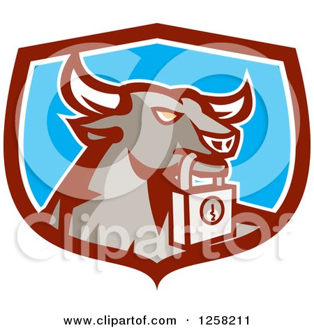 Clipart of a Retro Bull with a Padlock in a Maroon White and Blue Shield - Royalty Free Vector Illustration by patrimonio