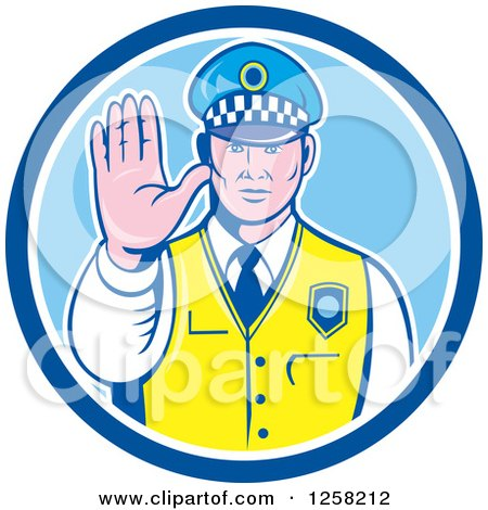 Clipart of a Retro Male Police Man Gesturing to Stop in a Blue and White Circle - Royalty Free Vector Illustration by patrimonio