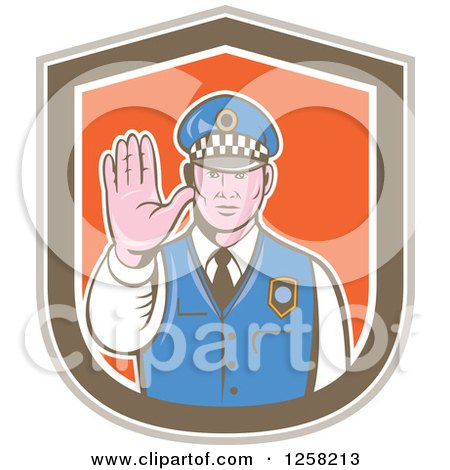 Clipart of a Retro Male Police Man Gesturing to Stop in a Brown White and Orange Shield - Royalty Free Vector Illustration by patrimonio