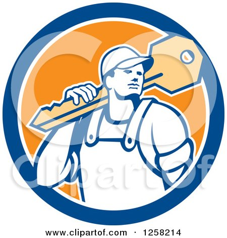 Clipart of a Retro Locksmith Man Carrying a Giant Key on a Blue White and Orange Circle - Royalty Free Vector Illustration by patrimonio