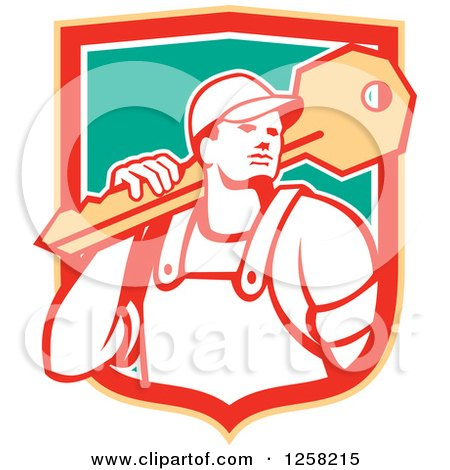 Clipart of a Retro Locksmith Man Carrying a Giant Key in a Yellow Red White and Green Shield - Royalty Free Vector Illustration by patrimonio