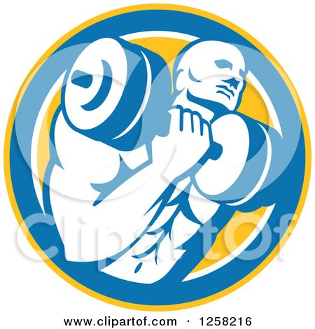 Clipart of a Retro Muscular Male Bodybuilder Lifting Weights in a Yellow Blue and White Circle - Royalty Free Vector Illustration by patrimonio