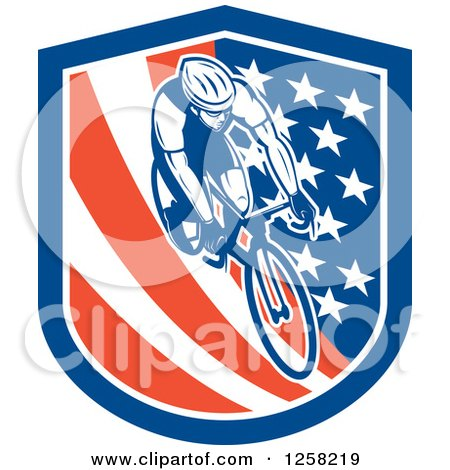Clipart of a Retro Male Cyclist in an American Flag Shield - Royalty Free Vector Illustration by patrimonio