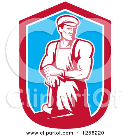 Clipart of a Retro Male Blacksmith Man with a Hammer in a Red White and Blue Shield - Royalty Free Vector Illustration by patrimonio