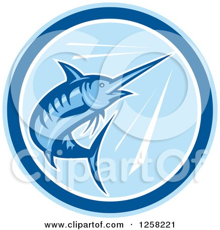Clipart of a Retro Blue Swimming Marlin Fish in a Circle - Royalty Free Vector Illustration by patrimonio