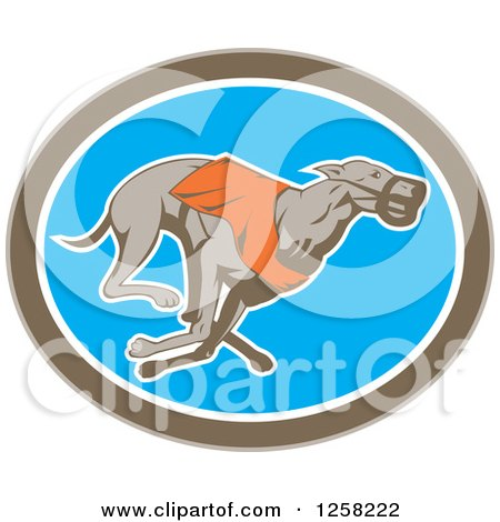 Clipart of a Retro Racing Greyhound Dog in an Oval - Royalty Free Vector Illustration by patrimonio