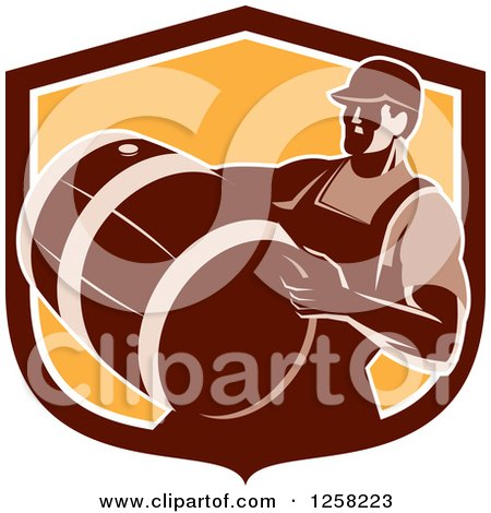 Clipart of a Retro Male Bartender Carrying a Keg in a Brown and Orange Shield - Royalty Free Vector Illustration by patrimonio