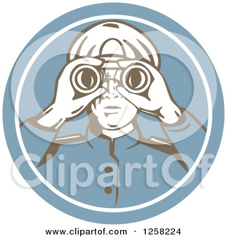 Clipart of a Retro Sea Captain Using Binoculars in a Blue Circle - Royalty Free Vector Illustration by patrimonio
