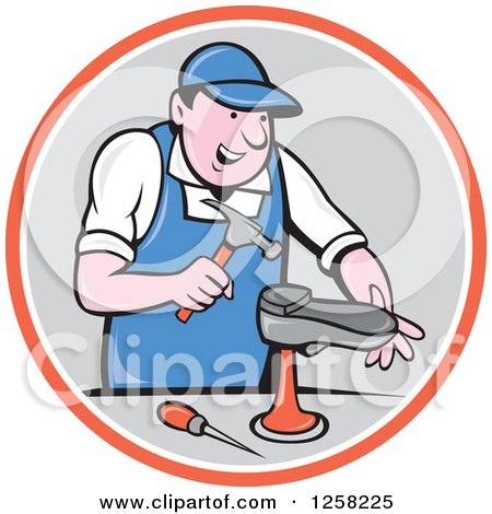 Clipart of a Cartoon White Male Cobbler Working on a Shoe in an Orange White and Gray Circle - Royalty Free Vector Illustration by patrimonio
