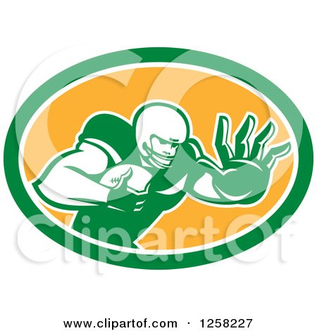 Clipart Of A Retro American Football Player Fending Off In A Green White And Orange Oval Royalty Free Vector Illustration